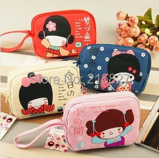 Free Shipping Women's Mini Coin Purse Japanese Letter Change Bag Two Zippers Mobile Phone Bag Small Canvas Cartoon Purse Girls(China (Mainland))