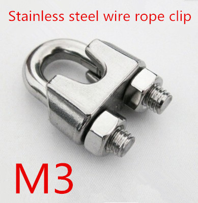 10pcs/lot m3 3mm Stainless Steel 304 DIN741 Wire Rope Clip Cable Clamp Rigging Hardware<br><br>Aliexpress