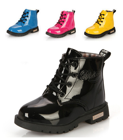 New Arrival 2015 Spring/Autumn Children Martin boots Kids PU leather Snow boots Fashion Boys Girls Child shoes Free shipping 01(China (Mainland))