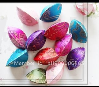 Engagement Ring Box 2.9*2 inch Mix Color Chinese Silk Printed Colorful Seashell Small Jewelry Storage Cases 220pcs/lot(China (Mainland))