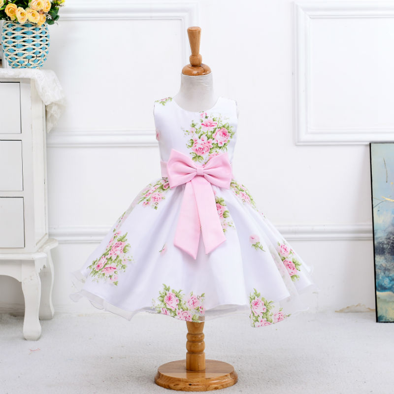 Retail new style summer baby girl print flower girl dress for wedding girls party dress with bow dress for 2-8 Years LM008(China (Mainland))