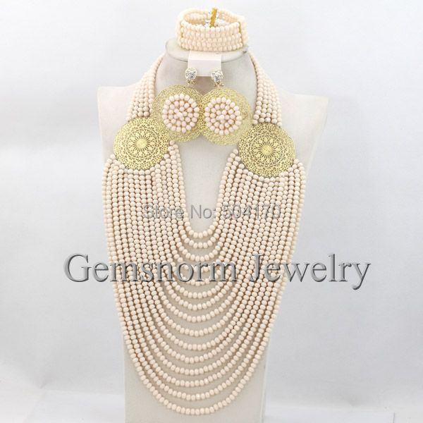 Luxury Beige Crystal Bridal Jewelry Set African Women Costume Jewelry Set Big Full Beads Set Free Shipping GS511<br><br>Aliexpress