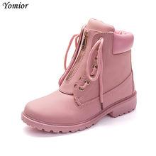 Yomior Yeni Varış Bahar Kadın Çizmeler Kama Ayakkabı Siyah Pembe beyaz ayakkabı Moda Yumuşak Deri yarım çizmeler Açık Öğrenci Çizmeler(China)