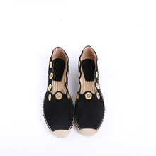 New brands elegant round metallic rings hollow bordered Nubuck genuine leather women fashion casual shoes flats slippers