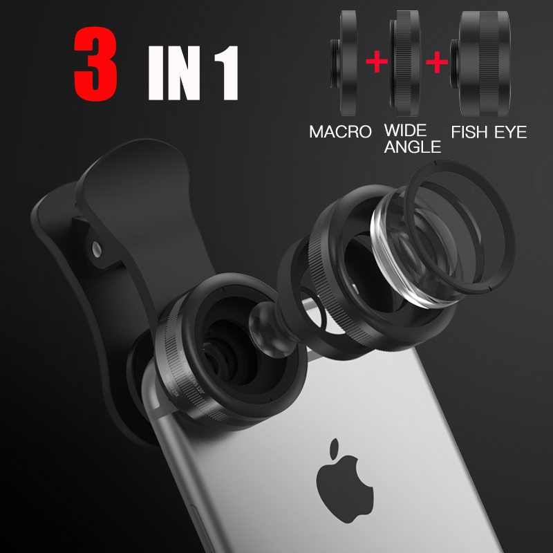 3 1 Clip-On Mobile Phone Lens Kits universal fisheye wide angle macro camera 3 Separate Lens iphone xiaomi mate9 oppo r9