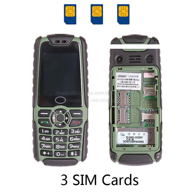 Bar Long standby 6800mAh Battery Big Voice Three Cards Dual Bands GSM CDMA Power Bank Flashlight FM cell mobile phone C9+ P116(China (Mainland))