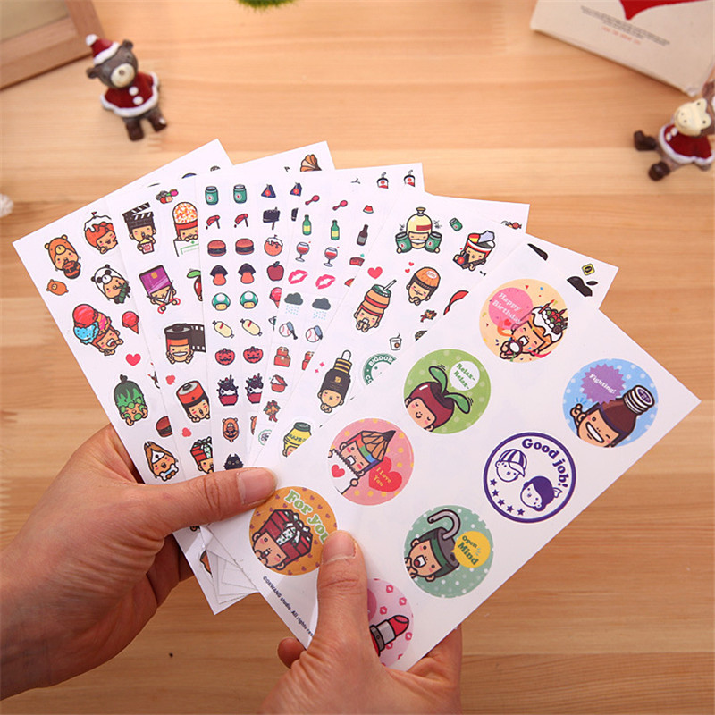 Japanese Boy Cap Singular Stickers Diary Decoration Stickers Mobile Phone Stickers 6 sheet/pack Hot Selling Free Shipping(China (Mainland))