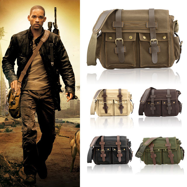 New High Quality Vintage Men Crossbody Sholder Bag Canvas Pu Leather Satchel Military Bag Bolsa Brand Men's Messenger Bags(China (Mainland))