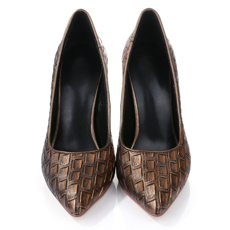 Фотография High quality sheepskin shoes woman,high thin heels,pointed toe pumps,embossed leather decoration,shallow mouth,brown