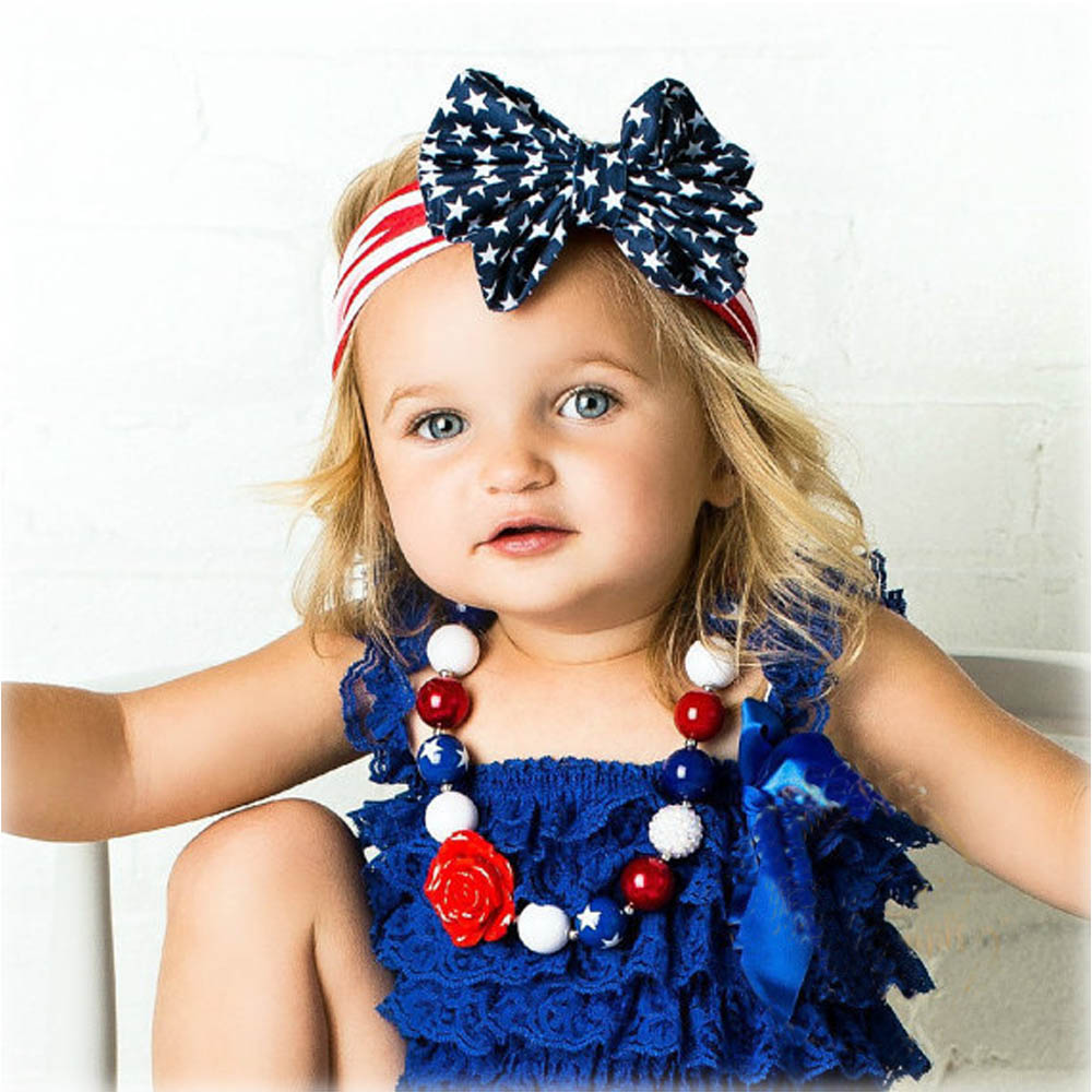 American Patriots' Day 4th July Fabric Bow Stripe Cotton Headband Children Baby Hair Accessories