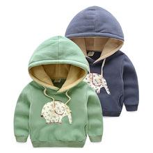 New fashion boys thicken warm hoodies kids cute elephant hoodies baby girls sweatshirts children winter hoody retail(China (Mainland))
