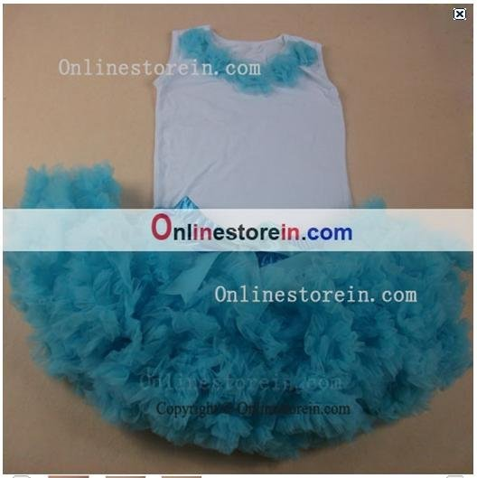 Wholesale Aqua blue baby girls tutu skirts outfit, summer baby dresses,fluffy short skirts and rosette t-shirt