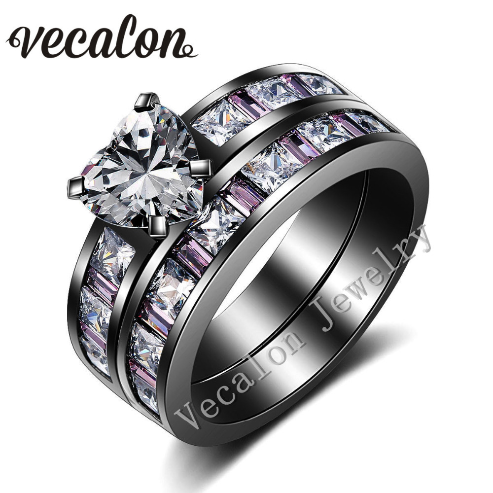Vecalon Heart Style Women Engagement Wedding Band Ring Set Pink sapphire Simulated diamond Cz 10KT Black Gold Filled Party ring(China (Mainland))