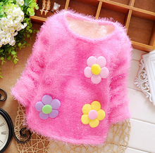Hot New 0-4 years old little girl pattern plus velvet thickening pullover sweater girls cardigan(China (Mainland))