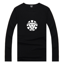 Superhero Iron Man Reactor Logo Print Women Long Sleeve T-shirt Casual Combed Cotton Lycra Black Tshirt Female Tshirts