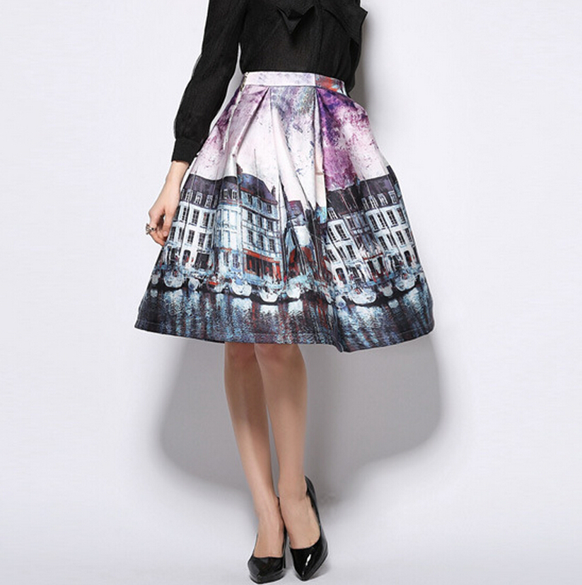 2015 desigual building print pleated midi skirt