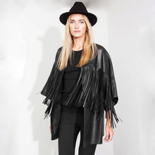 New Women's Hollow Up Black Faux Leather Tassel Cardigan Mid Long Jacket Ladies Fringed Coats Casual Cape Outwear Blouse ZJ311