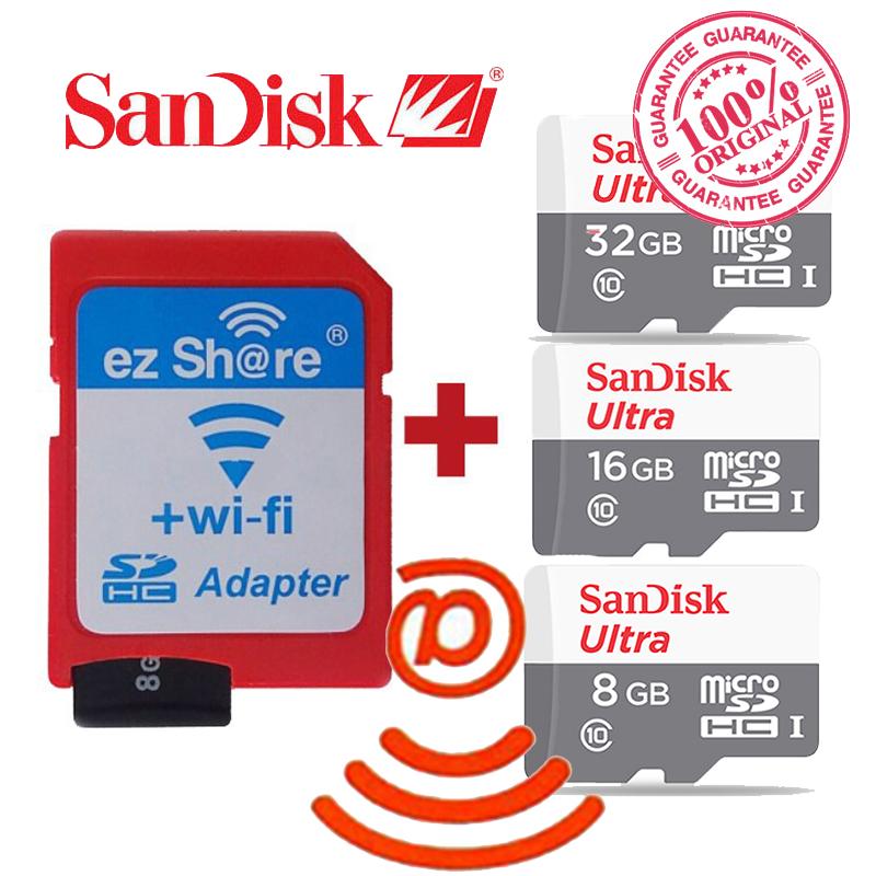 100% original ezshare Wireless wifi adapter+Sandisk Ultra 16gb 32gb 8gb class10 micro sd wifi wireless TF MicroSD Card(China (Mainland))