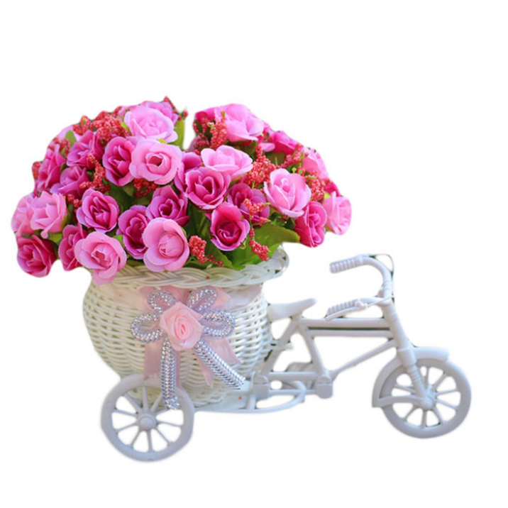 Best Deal Hot Sale Home Furnishing Decorative Floats Bicycle Basket Weaving Simulation Set Diamond Rose Flowers 1pc(China (Mainland))