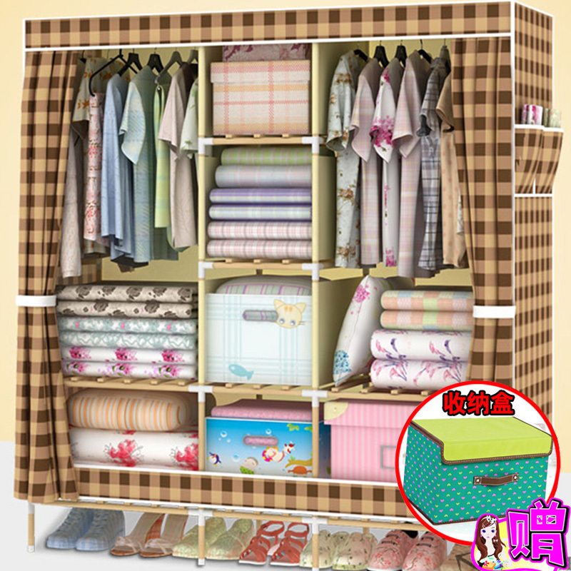 Oxford cloth wardrobe simple wardrobe assembling large wood reinforcement steel dust clothes storage cabinets wardrobe shipping(China (Mainland))