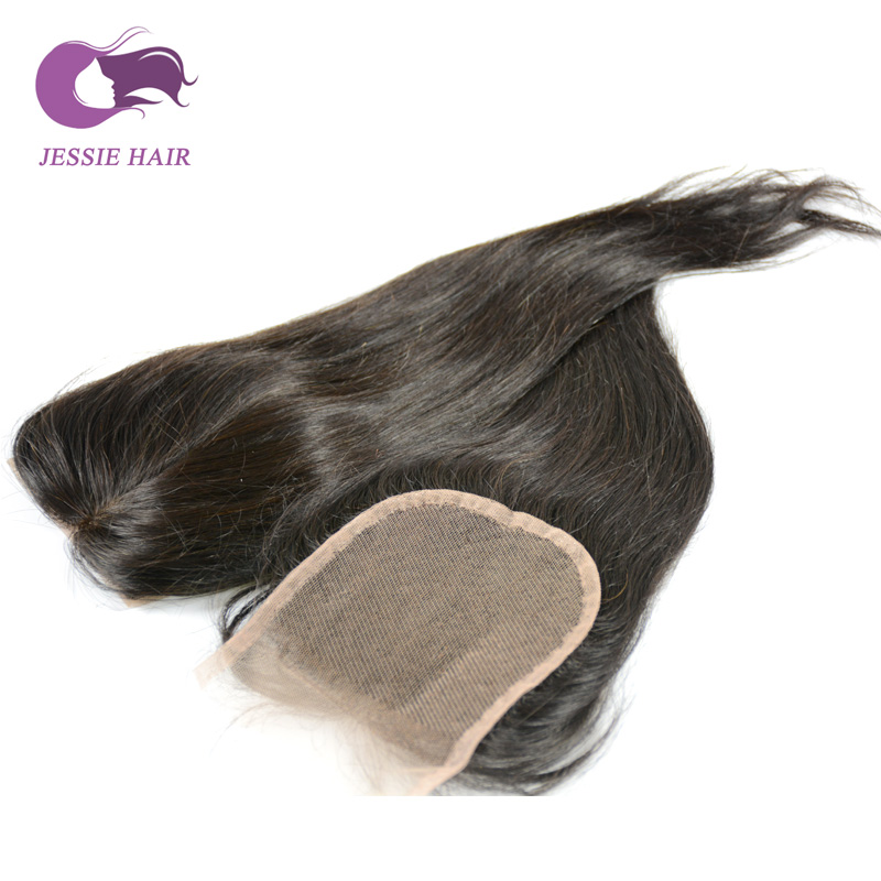 Фотография Jessie Hair Products Lace Closure Bleached Knots Straight Free Part/Middle Part/Three Part 4x4 High Quality Lace Closure