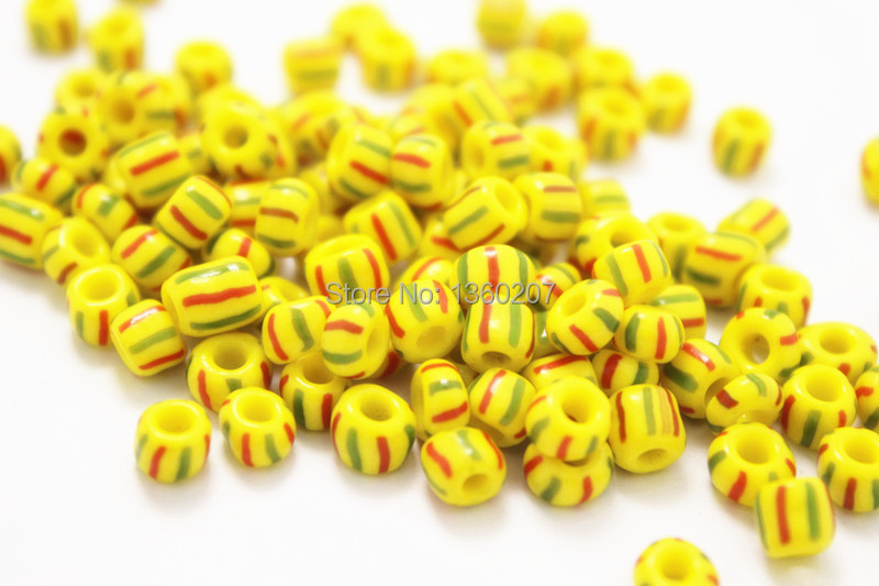 free shippping 500pcs/lot 5mm Striped Seed Beads yellow with red &green Stripes fit diy jewelry(China (Mainland))