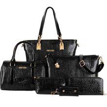 Classic 2015 Women Tote bolsas Women's Shoulder Bags Leather Bag Lady's Handbag Messenger bags Crossbody Bag 6 Sets