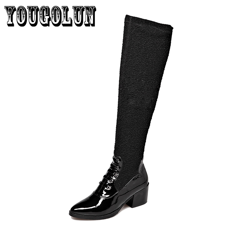 Здесь можно купить  soft Genuine leather Lycra Black Solid Square heels over knee thigh high women boots,2015 Winter style Sexy elastic ladies shoes soft Genuine leather Lycra Black Solid Square heels over knee thigh high women boots,2015 Winter style Sexy elastic ladies shoes Обувь