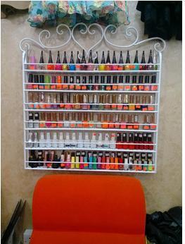 Package mailed, wrought iron nail polish display shelf, salons cosmetics shelf hanging