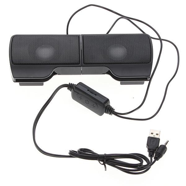 1 Pair Mini Portable Clipon USB Stereo Speakers line Controller Soundbar for Laptop Notebook Mp3 Phone Music Player PC with Clip
