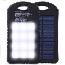 8000mah Solar Charger Pratable Solar Power Bank Bateria Externa Powerbank For Iphone Xiaomi Samsung Meizu With LED Light For SOS