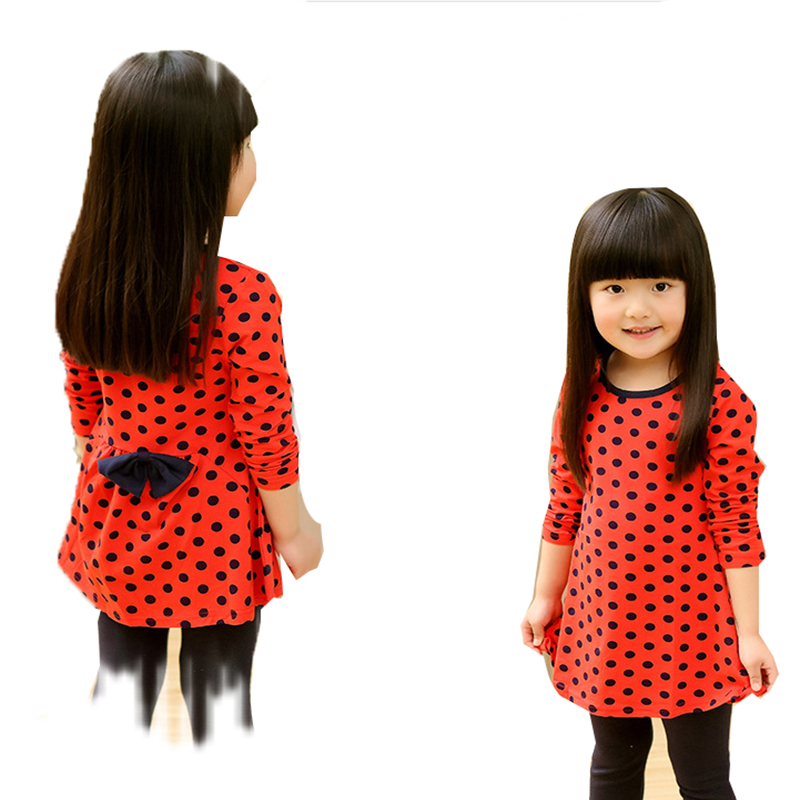 Fashion Kids Children Clothing Spring Long Sleeve Clothes Cute Girls Baby Polka Dot Print Casual Bow Dresses Clothing(China (Mainland))