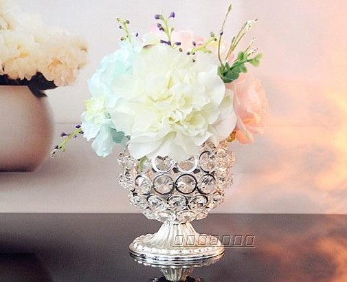 4341 free shipping exquisite romantic crystal candle holder small metal tea light holder for wedding home decoration flower(China (Mainland))