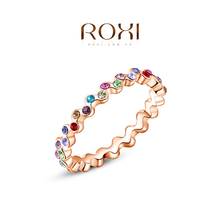 ROXI Ring 2015 Fashion New Luxury Women Austrian Crystal Real 24K Rose Gold Filled Colorful Zircon Ring Wedding Jewelry Gift(China (Mainland))