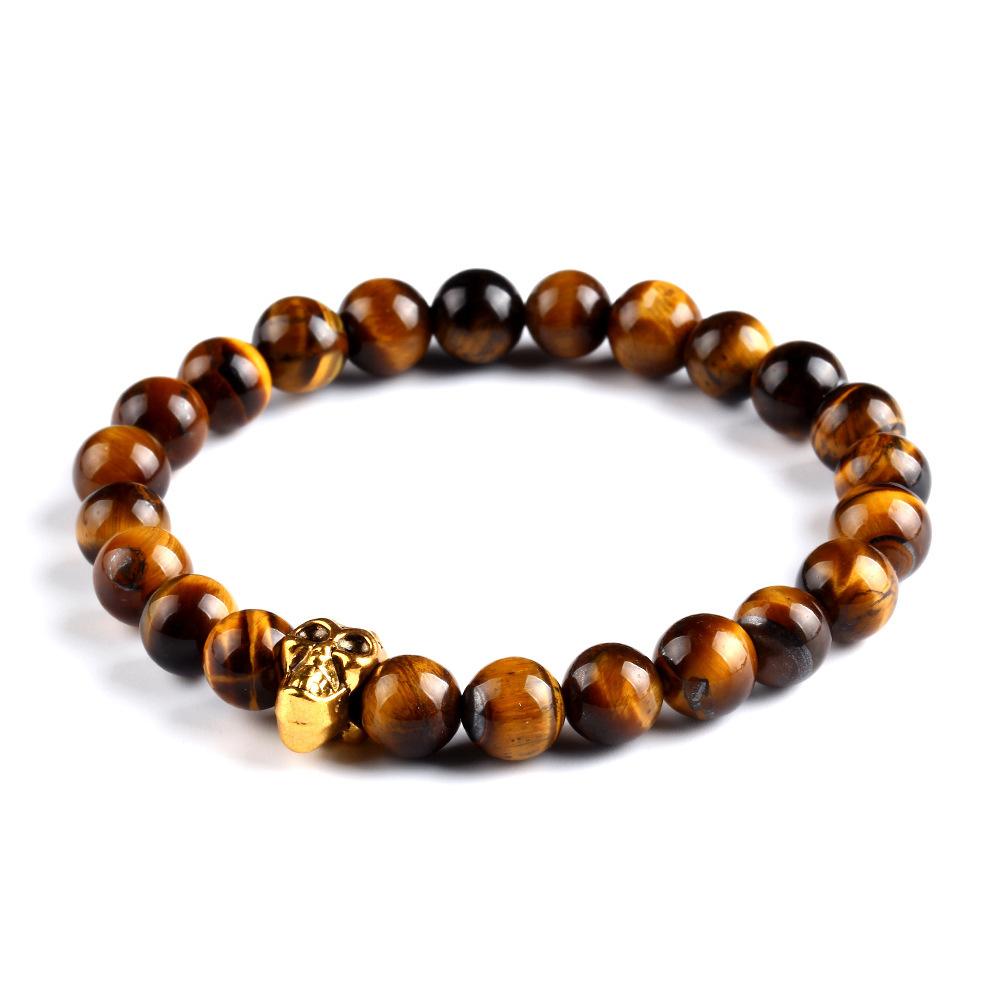 Natural Stone Skull Bracelets Bangles Beads Buddha Charm Bracelet For Women 2015 Bracciali Pulseras Men Jewelry