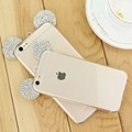For Iphone 6 6s Cases 4 7 Inch 3D Mickey Mouse Ear Crystal Rhinestone Transparent TPU