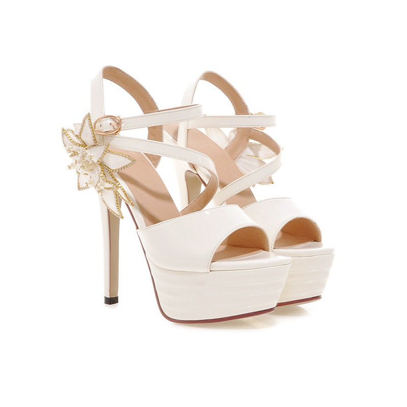 PU patent leather sandals flowers plus sizes women shoes sexy high thin heels platform summer shoes sizes 22cm-25.5cm<br><br>Aliexpress