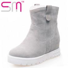 Consize Felpa Botas Cuñas Ocultos Plataforma de Nieve Botas de Piel de Nieve zapatos de Mujer Zapatos 2016 zapatos de Tacón Alto de Invierno Mantener Caliente Invierno botas(China (Mainland))