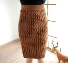 Women New 2016 Winter Fashion High Quality Braided Knit Bodycon Mid Skirt Women Winter Warm Fashion Skirt Free&Drop Shipping