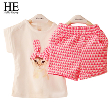 Summer new 2014 Girls clothing set baby girl s clothes sets cartoon cat children kids T