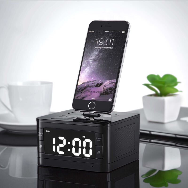 Original T7 Bluetooth Radio Alarm Clock Speaker System with LCD Screen Music Dock Charger Station Stereo Speaker for iPhone/ipod(China (Mainland))