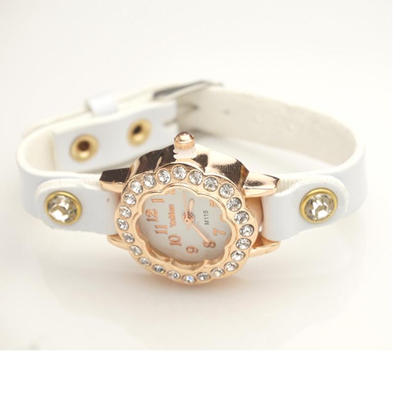 100pcs/lot Wholesale PU leather strap Fashion watches Crystal women girl casual Dress wristwatch wholesale Free Shipping