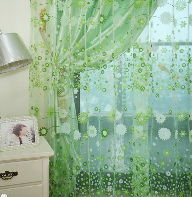 Free shipping flower design fininshed rustic organza tulle fabric sheer curtains home(China (Mainland))
