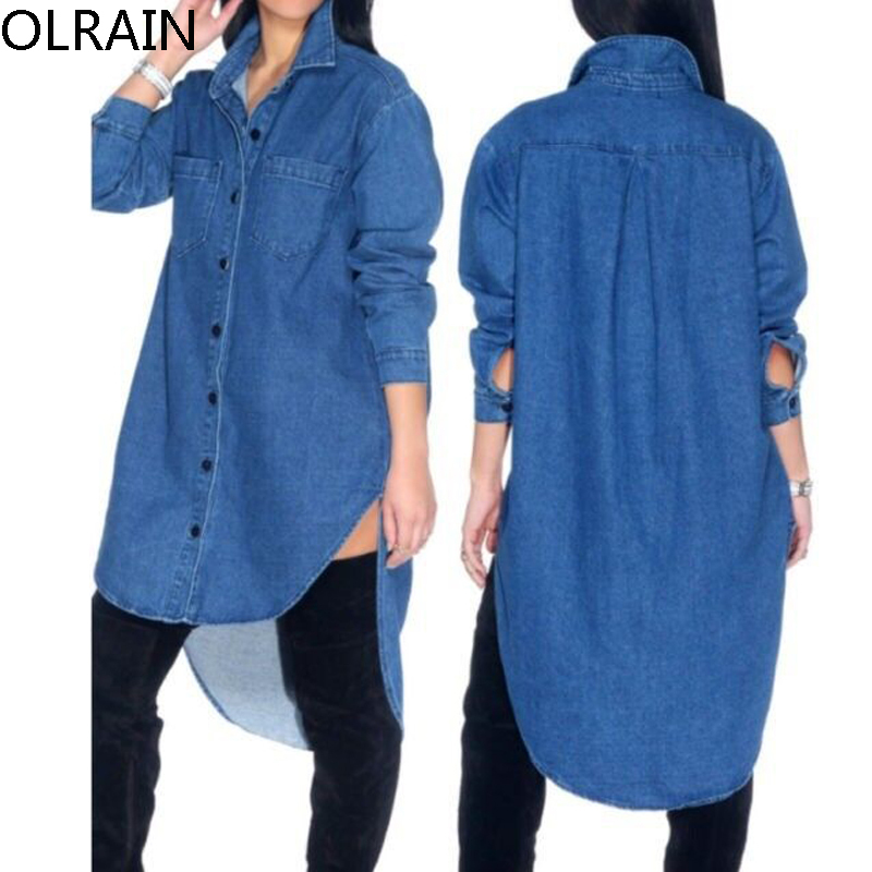 Women vintage button long sleeve denim shirt dress Women s long sleeve shirt dress