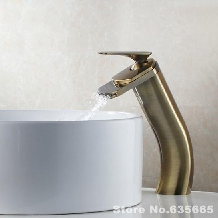 Antique Bathroom Waterfall Faucet Basin Lavatory Vessel