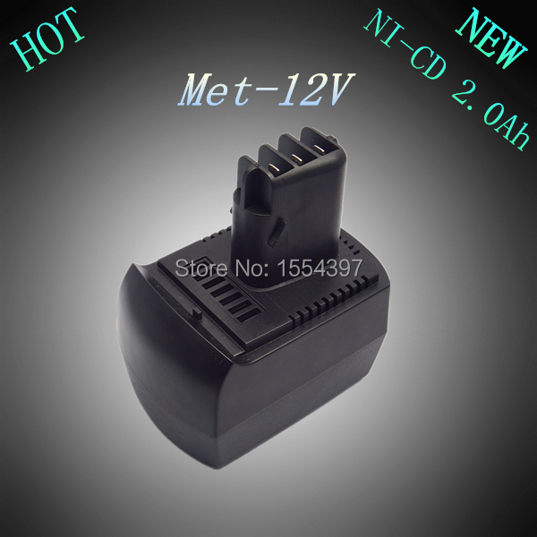 New 12V Ni-Cd 2.0Ah Replacement Rechargeable Power Tool Battery for Metabo BSZ12 BS12SP Free Shipping(China (Mainland))