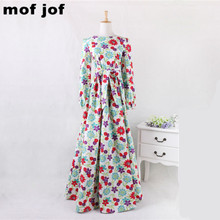 2016 cotton Long Maxi Dress Lantern sleeve Mopping the floor o-neck Vintage Floral print dresses Women elegant vestidos(China (Mainland))