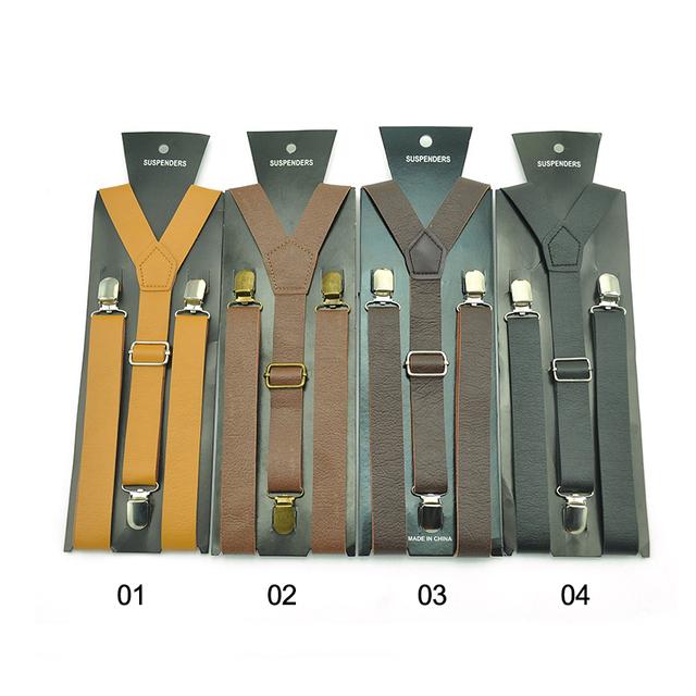 Последним Высокое качество ИСКУССТВЕННАЯ Кожа 4 цвета 50 дюймов подтяжки Мужчины ...