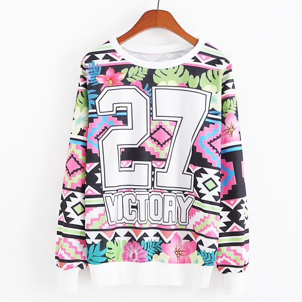 Cartoon Letter Animal Printed Sweatshirt 2015 New Spring Women Hoodies Pullover Sport Suit Sweatshirt Women Casual Hoodies(China (Mainland))