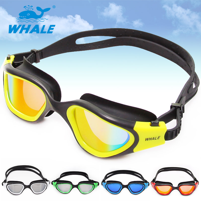 Whale Brand Adjustable Anti-fog UV Shield Protection Silicone Men Women Swimming Goggles Water Resistant Adult Swimming Glasses(China (Mainland))